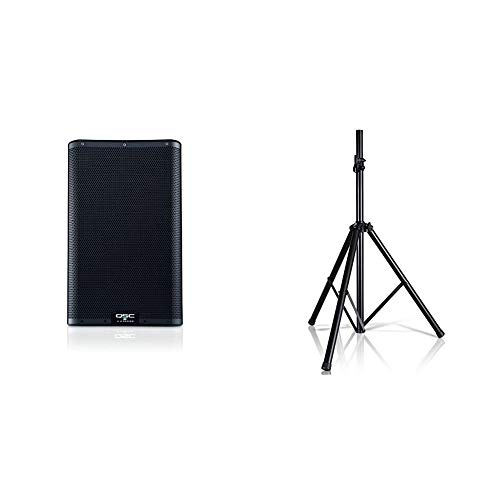 """QSC K10.2 Active 10"""" Powered 2000 Watt Loudspeaker & Pyle Universal Speaker Stand Mount Holder Heavy Duty Tripod w/Adjustable Height from 40"""" to 71"""" and 35mm Compatible Insert"""