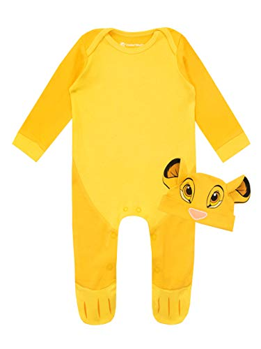 Disney Baby Boys' Lion King Footies and Hat Set Simba Size 12M Yellow