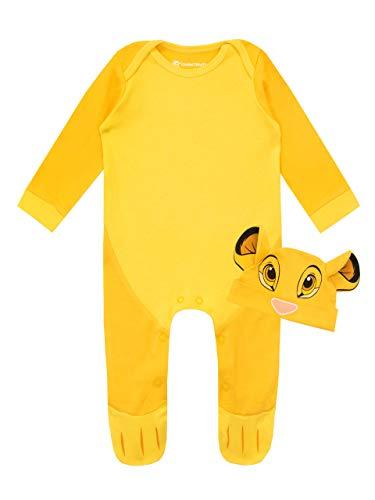 Disney Conjunto de Pijama Entera y Gorro para Niños Bebés El Rey león Amarillo 6-9 Meses
