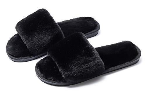 Sandalias Simples de Peluche con Dedos de Moda,Zapatillas SPA,patineta Interior y Exterior,40-41,Black