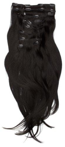 Love Hair Extensions - LHE/A1/QFC/120G/10PCS/18/1 - 100 % Cheveux Naturels Lisses et Soyeux - 10 Pièces Clippants en Extensions - Couleur 1 - Noir de Jais - 46 cm