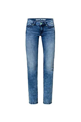 SOCCX Damen Jeans RO:My mit Bleaching-Effekten