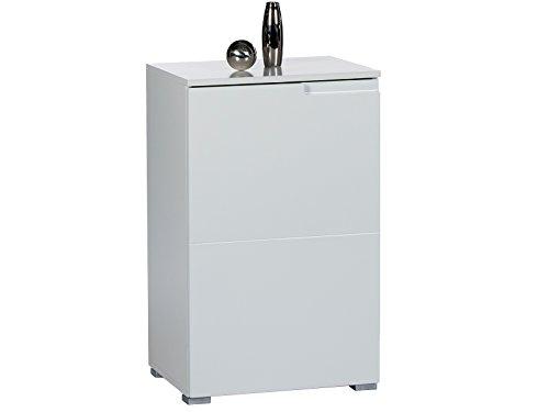 möbelando Kommode Standschrank Anrichte Higboard Sideboard Schrank Holzschrank Suzette I Weiß/Weiß-Hochglanz
