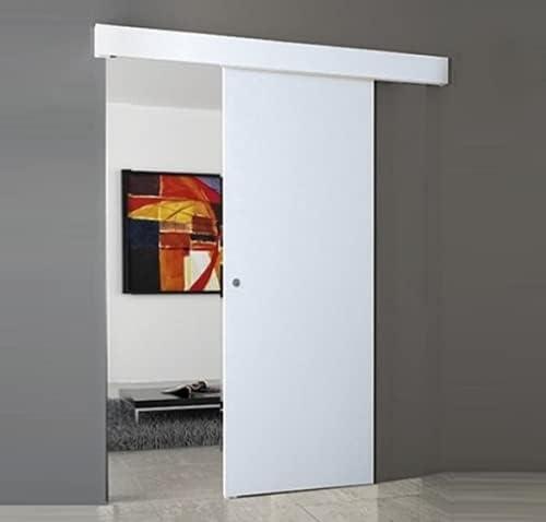 Porta Scorrevole Esterno Muro Bianco Completa Di Binario E Mantovana 80x210 Con Maniglietta Cromo Satinato Amazon It Fai Da Te