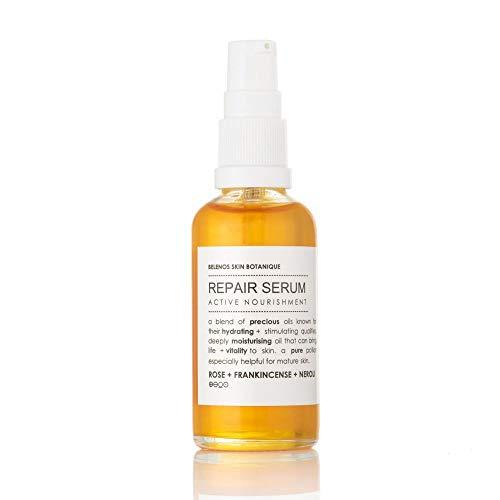 Sérum facial reparador natural, 50 ml, para todos los tipos de piel, impregnado con incienso de rosa y neroli con una mezcla de aceite de germen de trigo, borraja, aguacate y vitamina E