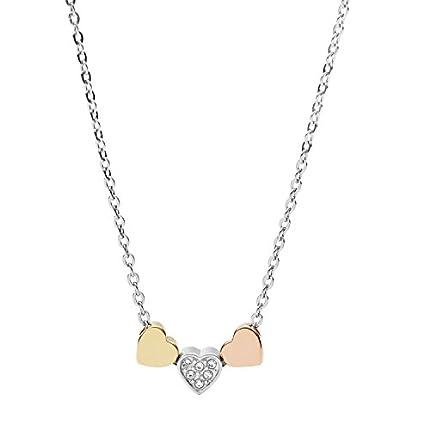 Fossil Collar de Corazón Tricolor para Mujer JF02856998
