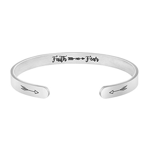 MEMGIFT Personalized Faith Over Fear Cuff Mantra Bracelet Religious Bible Jewelry Gifts for Women
