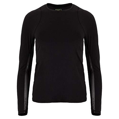 Lucky In Love Women`s Breeze Long Sleeve Tennis Top (Large Black)