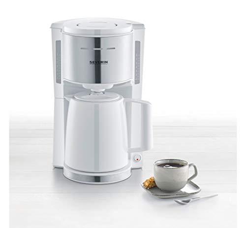 SEVERIN Filterkaffeemaschine mit Thermokanne, Kaffeemaschine für bis zu 8 Tassen, ansprechende Filtermaschine mit Isolierkanne, weiß/Edelstahl gebürstet, KA 9255