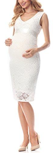 Be Mammy Elegante Vestido de Encaje Premamá Embarazo Ropa Verano BE20-232 (Marfil, L)