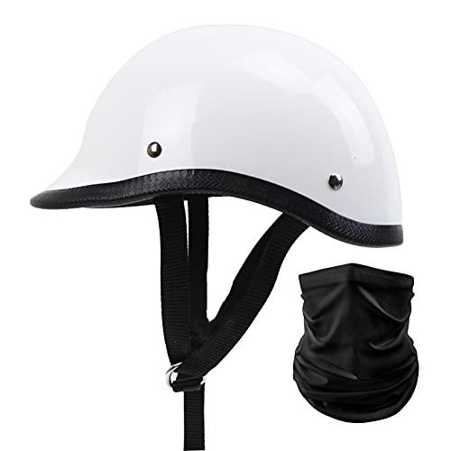 Retro Motorcycle Half Helmet German Style Vintage Caschi Da Motociclista Casco Moto Demi-Jet Casco Scodella con Sciarpa per Donna Uomo Adulti DOT/ECE Omologato (Color : White)