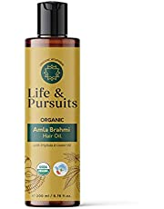 Life & Pursuits USDA Organic Amla Oil, 6.76 fl oz, for Hair Growth, with Triphala, Hibiscus