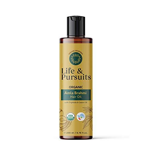 Life & Pursuits Amla Brahmi Hair Oil for Hair Growth - 6.76 Oz Organic & Natural Hair Oil with Coconut, Castor, and Sesame for Healthy & Shiny Hair