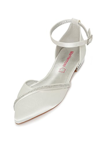 MarHermoso Damen Elegante Ballerinas Satin Ankle Strap Ivory Abendschuhe Brautschuhe (43 EU, Ivory)