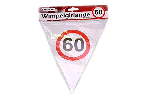 KMC Austria Design Wimpelgirlande 60 - 4m lang - DEKO zum 60. Geburtstag - Papierwimpel Bedruckt mit Verkehrsschild Zahl 60