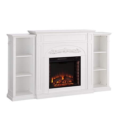Southern Enterprises Chantilly Ornate Bookcase Electric fireplace, White