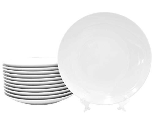12 Stück Flache Coupteller im Set aus echtem Porzellan Ø 270 mm weiß Teller auch zum Bemalen bestens geeignet Tafelgeschirr für Gastronomie und Haushalt