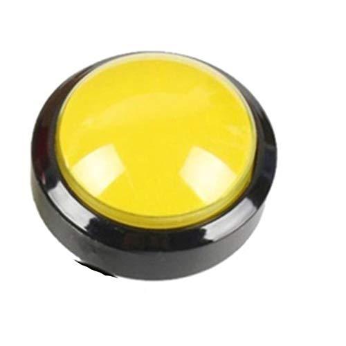 Jgzwlkj Interruptores de botón Botón Arcade 5 Colores Lámpara de luz LED 60mm Convexity Big Redondo Arcade Videojuego Player Interruptor de botón (Color : Yellow)