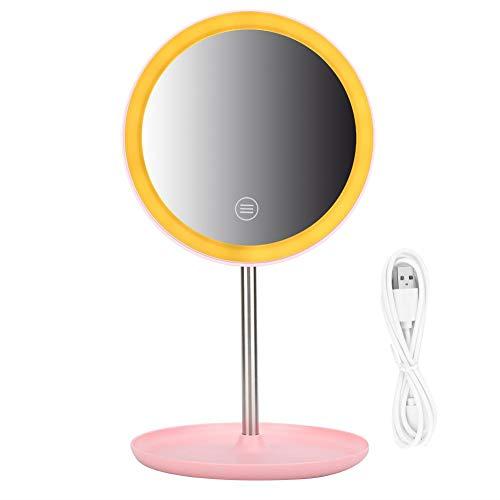 Miroir cosmétique, miroir de maquillage de bureau rechargeable de bureau USB LED réglable de miroir de maquillage de LED(Poudre nordique rechargeable)