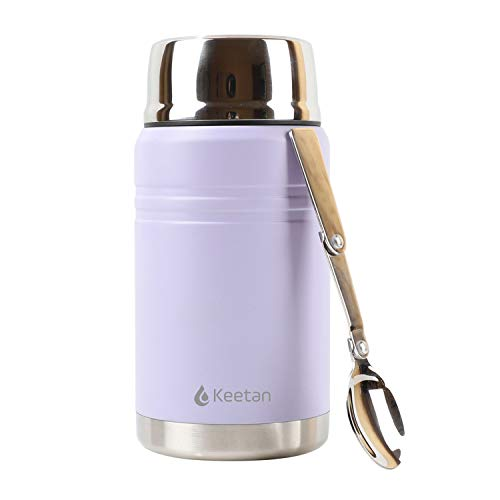 Keetan Vacuum Insulated Food Flasks BPA Free Stainless Steel Food Containers with Folding Spoon Lunch Box (Purple, 750 ml)