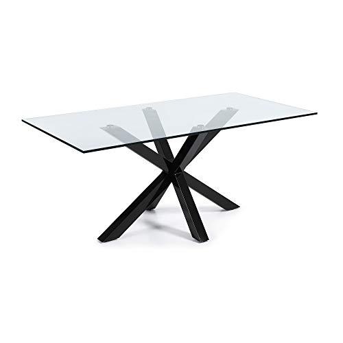 Kave Home - Mesa de Comedor Rectangular Argo 200 cm con sobre de Cristal Transparente y Patas de Acero con Acabado Negro