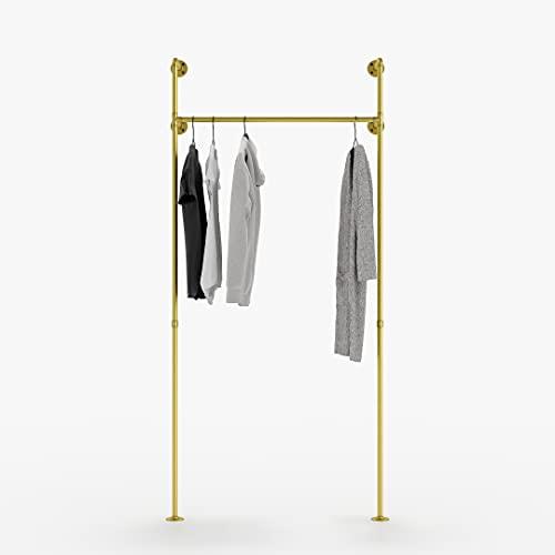 pamo Kleiderstange Industrial Loft Design - Garderobe für begehbaren Kleiderschrank Wand I Schlafzimmer Kleiderständer aus goldenen stabilen Rohren zur Wandmontage… (1-Fach)