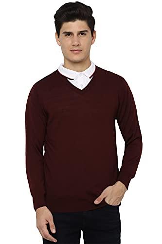 Allen Solly Men's Classic Acrylic Blend Sweater (ASSWORGBO41658_Maroon_XL)