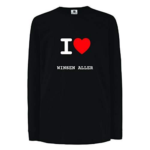 JOllify WINSEN ALLER Kinder Junge Mädchen Langarm T-Shirt – Design: I love- Ich liebe - Größe: 164 - 14-15 Jahre