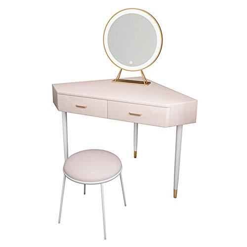 Eckschminktische Modernes Schlafzimmermöbel-Set mit Kosmetikschubladen und Kleiner Stuhl Make-up Tisch Kommode mit LED-Lichtspiegel