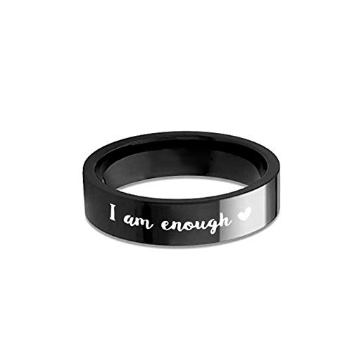 I Am Enough Love Hearts Fashion Stainless Steel Ring Titanium Steel Couple Ring For Men and Women Jewelry Accessories Gifts