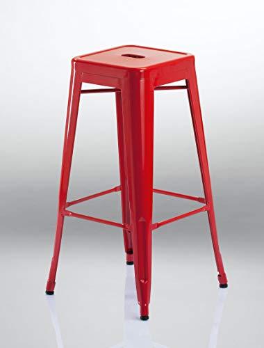 Tabouret de Bar en métal/Fer empilable Design Industriel sélection de Coleur Duhome 665D, Couleur:Rouge, matière:métal