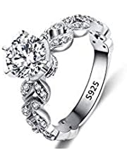 Women's Fashion Ring Chic Imitation Diamond Circle Engagement Platinum-plated Ring