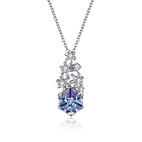 YouLpoet S925 Sterling Silver Snowflake Sugar Cube Crystal Necklace,Women's Creativity Stud Necklace for Girls Gifts,Multi colored