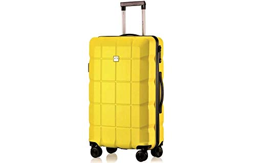 "ATX Luggage 24""/62cm Medium Super Lightweight Durable ABS HardShell Hold Luggage Suitcases Travel Bags Trolley Case Hold Check In Luggage with 4 Wheels Built-in 3 Digit Combination(24' Medium, Yellow)"