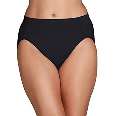 Vanity Fair Women's Beyond Comfort Microfiber Panties with Stretch, Hi Cut - Seamless Waistband - Black, 9