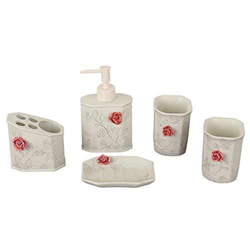 hongbanlemp Dispensadores de loción Conjunto de baño de Rosa de 5 Piezas Accesorios de baño Dispensador de jabón Taza de Enjuague bucal y jabonera, Resina Premium, Beige Dosificador de jabón