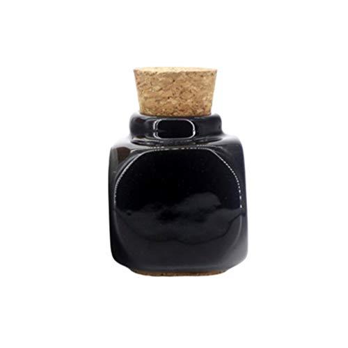 Beaupretty Vide Bouteille en Céramique Liquide Distributeur Manucure Bouteille Liquide Bouteille en Liège avec Couvercle en Bois pour Pilule Échantillon D'eau Liquide Noir