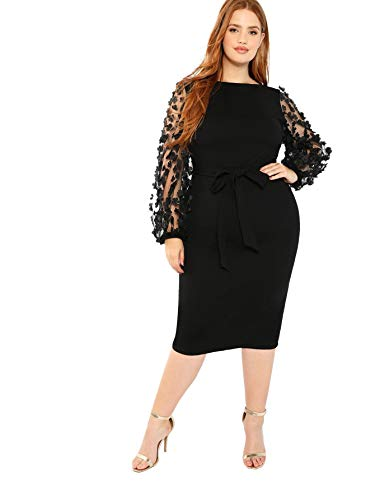 SheIn Women's Plus Size Elegant Mesh Contrast Pearl Beading Sleeve Stretchy Bodycon Pencil Dress Black Ink XX-Large Plus