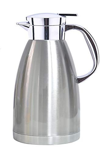 Jarra Termica, termo para bebidas frias, hervidor de agua para el hogar, botella aislada de doble pared, hervidor de vacio dorado (Plata, 1800ML)