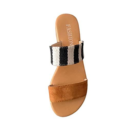 Comfort Antiscivolo Pantofole Casual,Pantofole Piatte Color Grande Misura,Doppio Cinturino Open-Toe Color Block Pantofole-Marrone_39 EU,Donna Piatto Sandali Estive Moda Comode