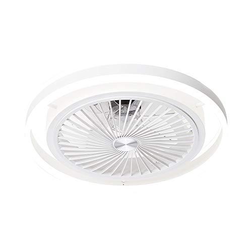 TODOLAMPARA-Lámpara ventilador de techo con luz led 56W Pampero blanco con mando a distancia,regulable en intensidad,3 tonalidades,memoria,silencioso,7 aspas protegidas,3 velocidades,50cm de diámetro