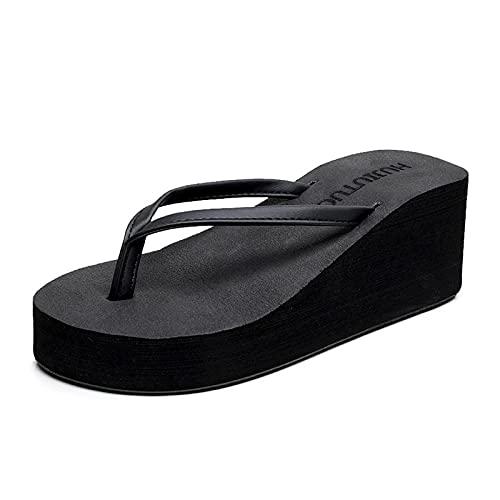 Sandalias ortopédicas,Pendiente con Zapatillas de Sandalia sin Fondo Gruesas, Sandalias de pie de la Playa-Negro_35,Pantuflas Transpirables