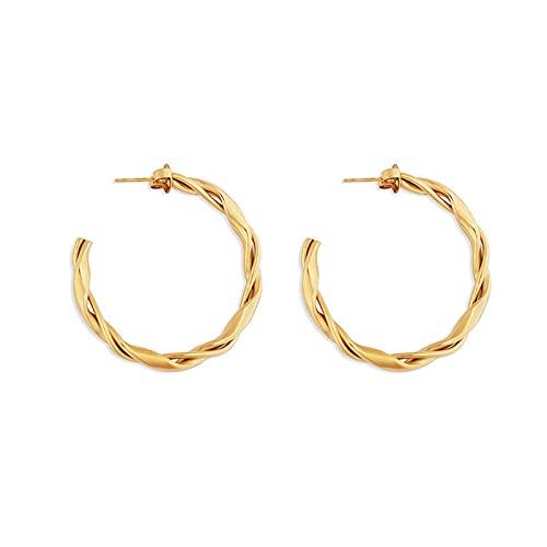 LIEQUAN Pendientes de Oro Temperamento Femenino Círculo de diseño Creativo de la Oreja Personal. Pendientes de Moda de uñas