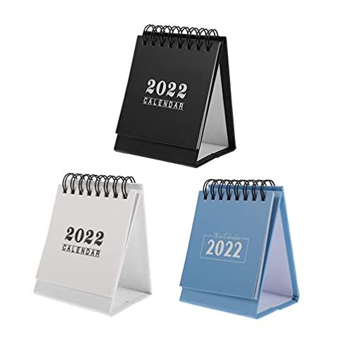 cabilock 3 Piezas 2022 Calendario de Escritorio Mini Calendario de Escritorio de Pie de Mesa Calendario de La Escuela Decoración de Mesa para La Oficina de Planificación (Colores Surtidos)