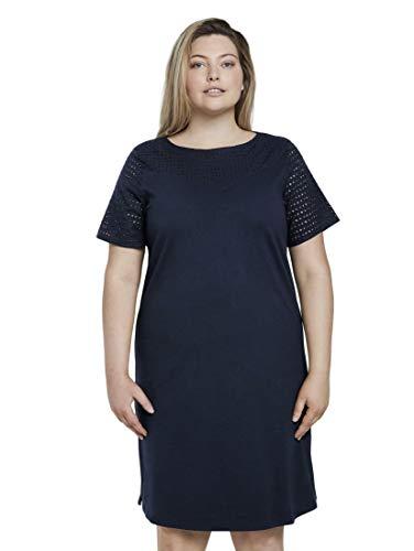 TOM TAILOR MY TRUE ME Damen Kleider & Jumpsuits T-Shirt Kleid mit Lochstickerei Real Navy Blue,50