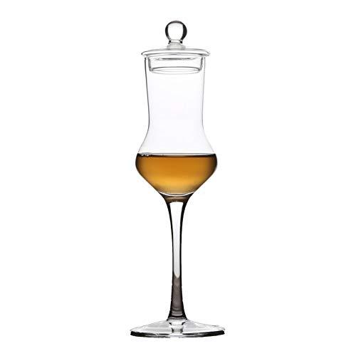 Xacxl 100ml Becher Tasting Whisky-Glas-Kristall Geruch Weinglas-Test Cup Brandy Cup Wein-Schmecker Spezielle Getränke mit Deckel winebowl