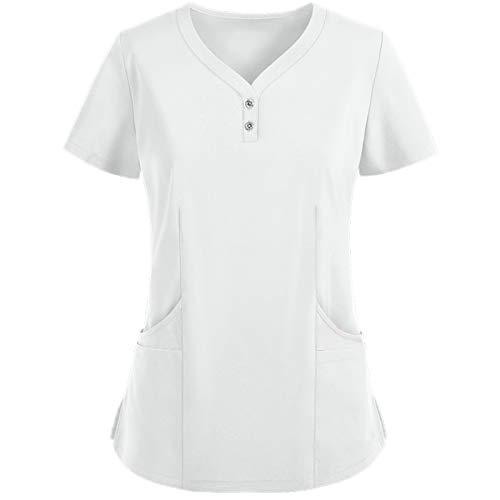 Señoras De Manga Corta con Cuello En V Ropa Protectora De Color SóLido, Ropa De Enfermería, Blusas De Uniforme De Trabajo, Camisetas(C,XL)