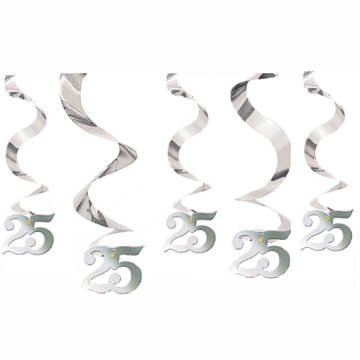 PARTY DISCOUNT ® Spiral-Girlande 25, silber, 5 Stk.