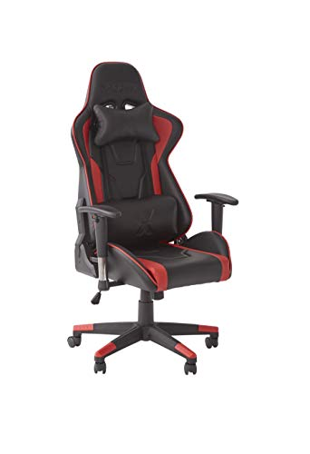 X-Rocker Bravo PC Gaming Chair, Ergonomic High Back Office Computer Desk Chair with Neck and Lumbar Support Cushions, Back Tilt, 3D Adjustable Armrests & Swivel, PU Faux Leather – Red/Black