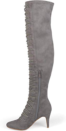 Brinley Co. Womens Regular and Wide Calf Vintage Almond Toe Over-The-Knee Boots Grey, 8.5 Regular US